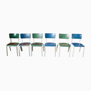 Industrial Patinated Dining Chairs, 1970s, Set of 10