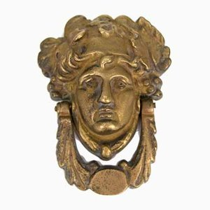 Jugendstil Frauengesicht Bronze Türklopfer, 1920er
