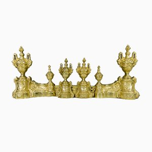 Louis XVI Style Bronze Fireplace Set from Charles Casier, Set of 5