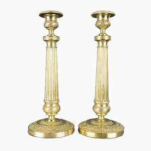French Brass Candlesticks with Floral Motifs, 1920s, Set of 2