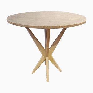 Round Travertine Center Table