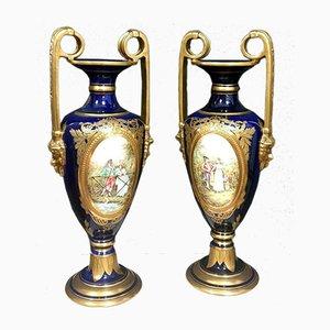 Antique Parisian Porcelain Vases, Set of 2