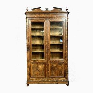 Louis Philippe Walnut Burl Library Cabinet
