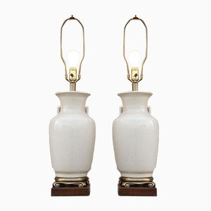 Cracked Earthenware & Brass Table Lamps by Frederick Cooper, Chicago, 1950s, Set of 2