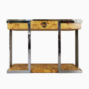 Radica Brass and Steel Console Table by Willy Rizzo for Mario Sabot, 1970s