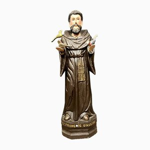 Large 18th century Polychrome Wood Religious Statue of Saint Francis D'Assise