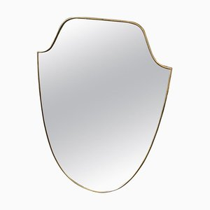 Mid-Century Modern Brass Shield Wall Mirror by Gio Ponti, 1950s