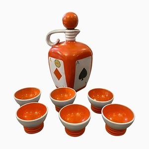Mid-Century Modern Ceramic Liquor Set from Pucci Umbertide, 1950s, Set of 7
