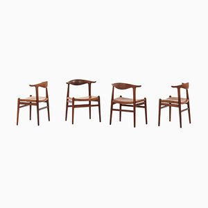Model JH-505 Cowhorn Chairs by Hans J. Wegner for Johannes Hansen, 1952, Set of 4