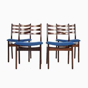 Dänische Mid-Century Palisander Esszimmerstühle, 1960er, 4er Set