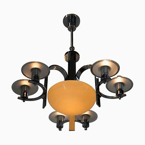 Large Art Deco 7-Flamming Chandelier, 1930s