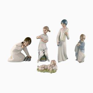 Porcelain Figurines of Children, 1970s, Set of 5