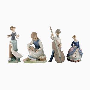 Porcelain Figurines, 1970s, Set of 4