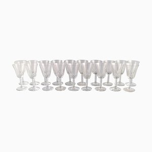 Glasses in Mouth Blown Crystal Glass, 1930s, Set of 19