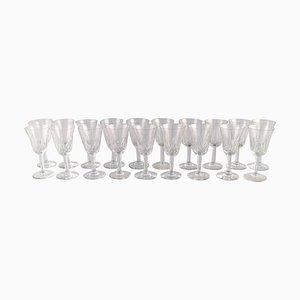 Mundgeblasene Gläser aus Kristallglas, 1930er, 19er Set