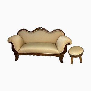 Antique Biedermeier Upholstered Sofa in Solid Wood