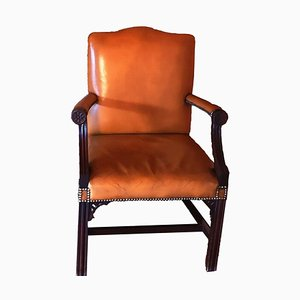 Antique Brown Leather Armchair in the Style of Gainsborough