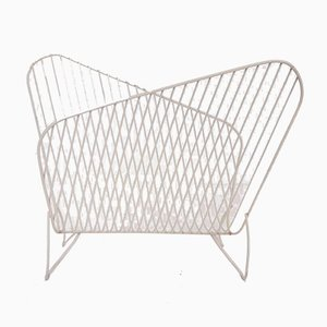 White Metal Wire Magazine Rack from Pilastro, the Netherlands, 1950s
