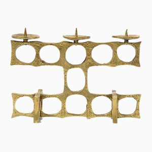 Brutalist Brass 3-Light Candelabra, 1970s
