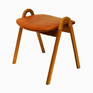 Mid-Century Leather Stool by Bjørn Engø for Gustav Bahus, Norway, 1950s