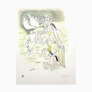 Litografia Jean Cocteau, angelo, 1967, dipinta a mano