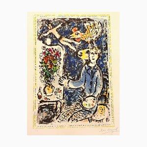 Lithographie de Marc Chagall, The Blue Workshop, 1983