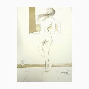 Salvador Dali, Desnudo en la ventana, 1970, Litografía