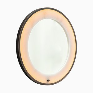 Bronze and Alabaster Hublot Mirror by Entrelacs