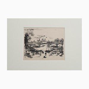 Eugene Blery, Paris Landscape, 1838, Original Etching