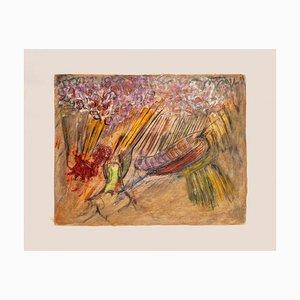 Edgar Stoebel, Komposition, Mitte 20. Jahrhundert, Original Mixed Media