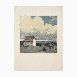 Luigi Kasimir, Landhaus auf dem Land, 20. Jahrhundert, Originale Radierung