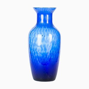 Blaue Vintage Vase aus Kristallglas, 1970er
