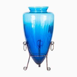 Vintage Brilliant Blue Murano Vase, Italy, 1970s