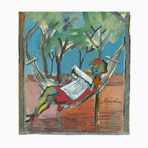 Mino Maccari, Afternoon Readings, 1970, Originale Zeichnung