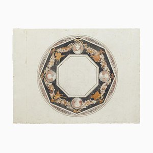 Ceiling Decoration, 18th Century, Original ink and Watercolor