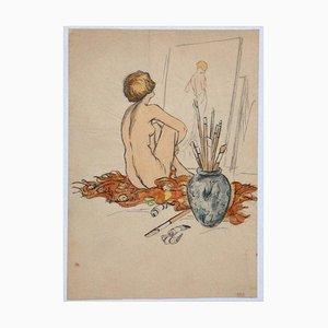 Inchiostro nuda, XX secolo originale, pastello e acquarello