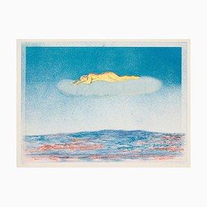 Landschaft mit Figur, 20. Jahrhundert, Originale Lithographie