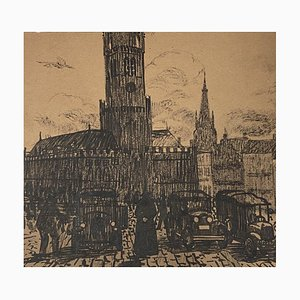 City Center, 19th Century, Original Lithograph