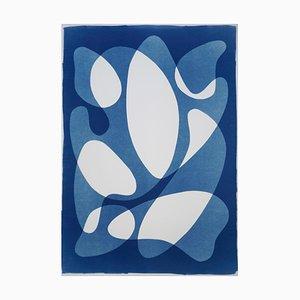 Calder Mobile Shapes, 2019, Modern Mid-Century Print on Paper, Blues, Neutral Tones