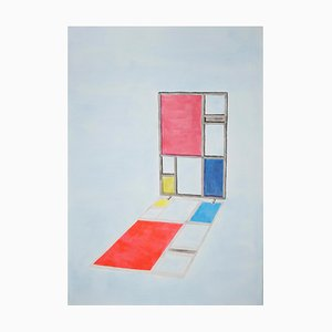 Mondrian Screen Divider, 2020, Painting on Paper, Modern Architecture