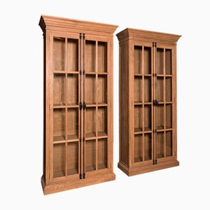 Solid Oak Glazed Bookcases