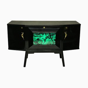 Mid-Century Brass and Mirrored Glass Sideboard, 1950s