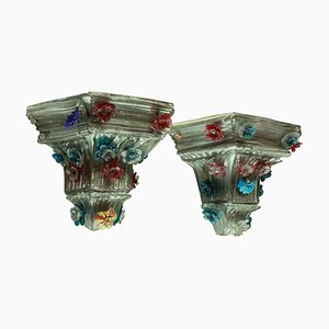 Vintage Murano Glass Wall Brackets, Set of 2