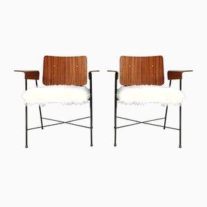 Armlehnstühle aus Teak & Kunstfell von Enzo Strada, 1950er, 2er Set