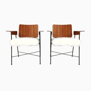 Teak and Synt-Fur Armchairs by Enzo Strada, 1950s, Set of 2