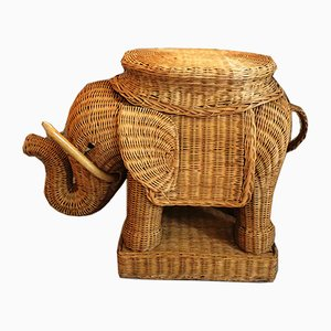 Vintage Woven Wicker Elephant Side Table, 1970s