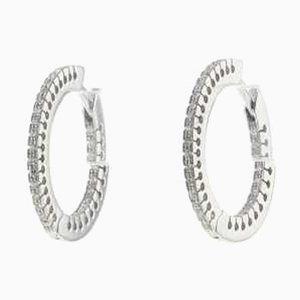 Aretes de oro blanco y diamantes, años 90. Juego de 2