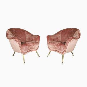 Italienische Mid-Century Sessel aus Rosa Samt im Stil von Gio Ponti, 1950er, 2er Set