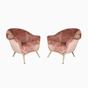Mid-Century Italian Pink Velvet Armchairs in the Style of Gio Ponti, 1950s, Set of 2