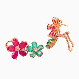 Gold, Emerald, and Ruby Floral Earrings, 1990s, Set of 2